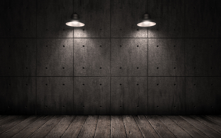 penumbra: industrial grunge background with lighting ceiling lights, dark room with walls of concrete slabs and wooden floor
