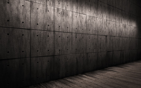 penumbra: grunge industrial background, large dark room with walls made of concrete