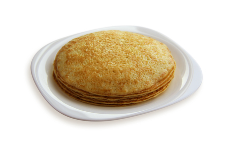 blini: traditional pancakes - russian blini, isolated on white background