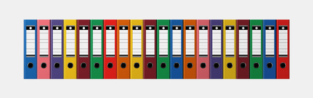 Archive. Colored folders in a row isolated on white background Foto de archivo