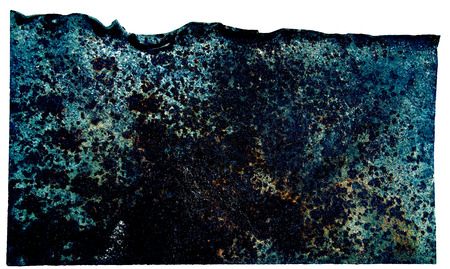 plating: metal rusty plate with curved edges, piece of charred plating an alien space ship