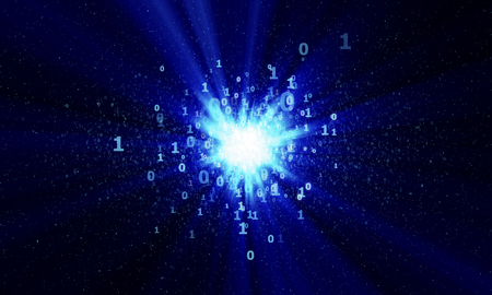 gigabytes: abstract bright digital binary star with blue rays in cyberspace Stock Photo