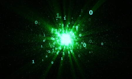 gigabytes: abstract bright digital binary star with green rays in cyberspace Stock Photo