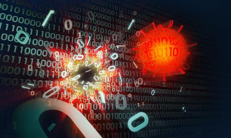 malicious software: the virus hacks computer protected