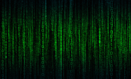megabytes: abstract background with green - blue digital lines, cyberspace Stock Photo