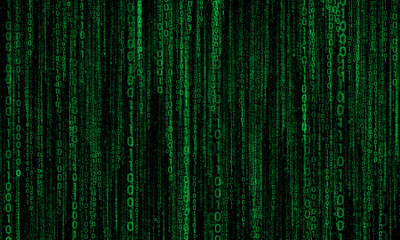 megabytes: abstract background with green digital lines, cyberspace Stock Photo