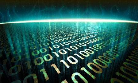 gigabytes: information flows through the digital surface in cyberspace, glowing abstract binary background - virtual reality Stock Photo
