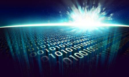 サイバー スペースでバイナリの抽象的な背景 - 仮想現実を光るデジタル表面上の情報爆発