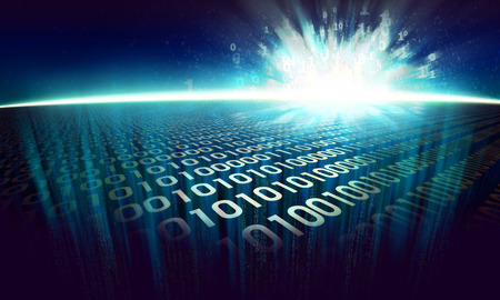 the information explosion on the digital surface in cyberspace, glowing abstract binary background - virtual reality