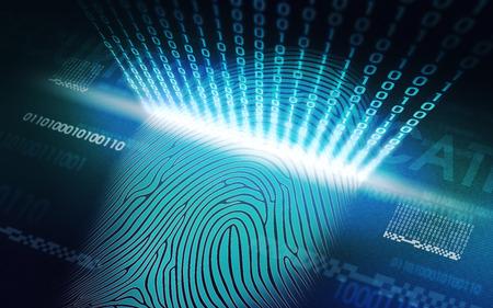 Das System der Fingerabdruck scannen - biometrische Sicherheitsvorrichtungen Standard-Bild - 62894035