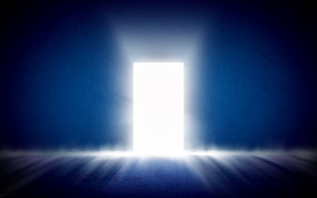 Glowing exit from dark room. Background, template, mock up
