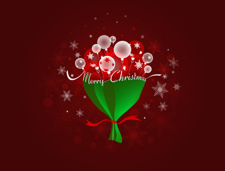 Christmas and New Year background with Christmas balls Packed in the form of a bouquet with some space for text Illustration