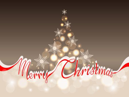 The words merry Christmas in red ribbon which separates the upper part with abstract Christmas tree on a gold background from the lower part with area for your text Illustration