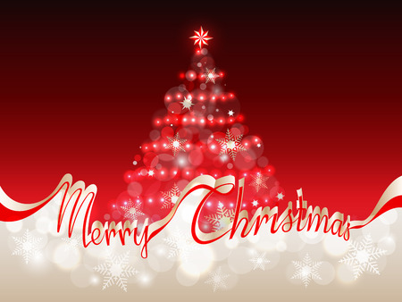 The words merry Christmas in red ribbon which separates the upper part with abstract Christmas tree on a red background from the lower part with area for your text Illustration