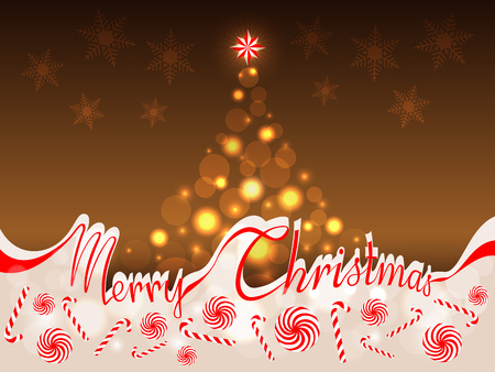 separates: The words Merry Christmas in red ribbon which separates the upper part with abstract Christmas tree on a gold background from the lower part