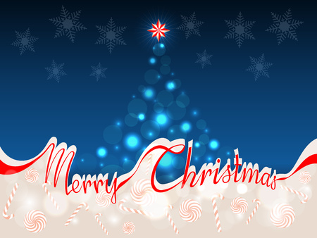 The words Merry Christmas in red ribbon which separates the upper part with abstract Christmas tree on a blue background from the lower part with area for your text