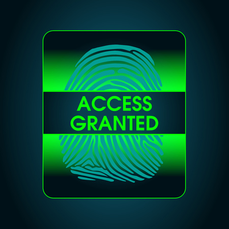 granted: the result of the fingerprint scan access is granted, security system, data protection Illustration