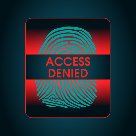 access control: the result of the fingerprint scan access denied, the access control system, security, data protection