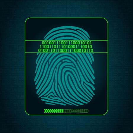 biometric: fingerprint scanning - digital security system, biometric, access, data protection Illustration