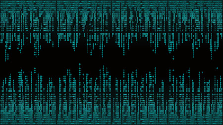 Abstract with digital lines, binary code, matrix background with digits, frame. High-tech computer background with red digital lines