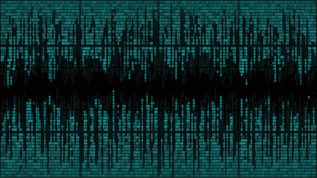 Abstract, binary code, matrix background with digits, frame. High-tech computer digital background with blue digital lines