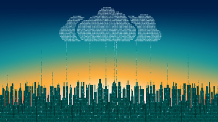 programming code: The city online. Abstract futuristic digital city, cloud connected, high-tech background. Network digital technology concept