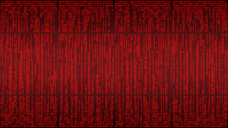 Abstract matrix computer digital background with red digital lines, binary code