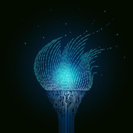 Una antorcha azul ardiente, consiste en placas de circuitos impresos, la llama del código binario. Artefacto del resumen del ciberespacio Foto de archivo - 71197070