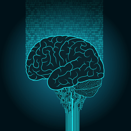 The brain is connected to the electronic device and a cloud service.
