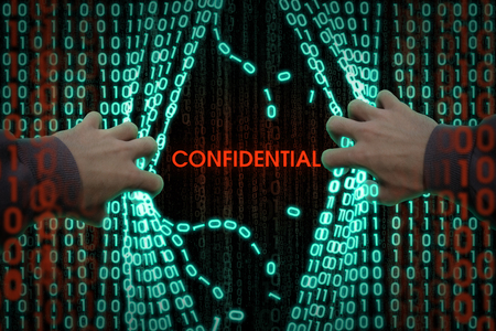 The concept of computer security. Hacker breaks binary data Stock Photo