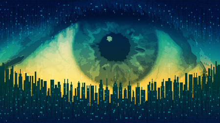 Big brother - concept electronic all-seeing eye, the technology of global surveillance, futuristic computer digital technology