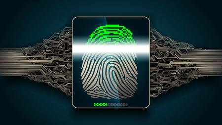 Das Fingerabdruck-Scan-System - biometrische digitale Sicherheitsgeräte Standard-Bild - 77772626