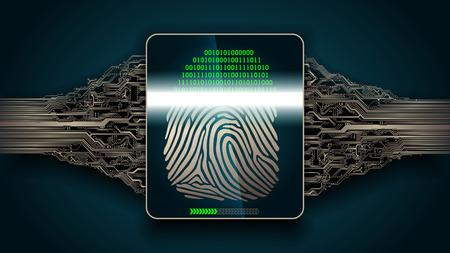 Das System des Fingerabdruckscannens - biometrische digitale Sicherheitssysteme, Zugang Standard-Bild - 77772620