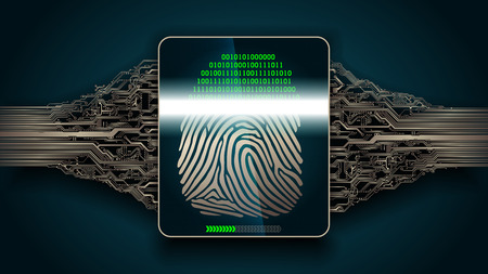 the system of fingerprint scanning - biometric security digital devices, access Illustration