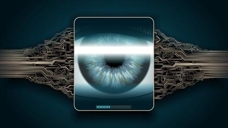 Escaneo de retina: sistema de seguridad digital, acceso
