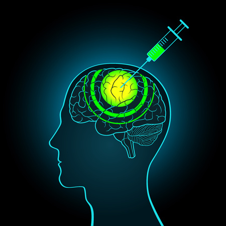 inquest: The injection syringe into the brain of truth serum, brainwashing, making new data Illustration