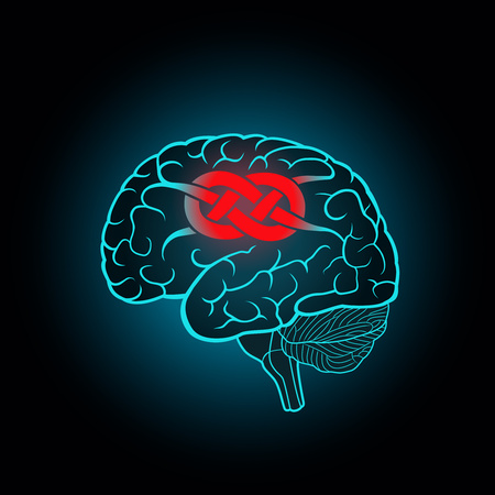 Brain with convolutions associated to the knot, the concept of unsolvable problems, challenges Illustration