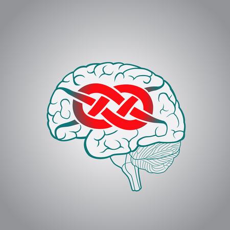 매듭과 관련된 회선을 가진 뇌, 해결할 수없는 문제의 개념, 도전 일러스트