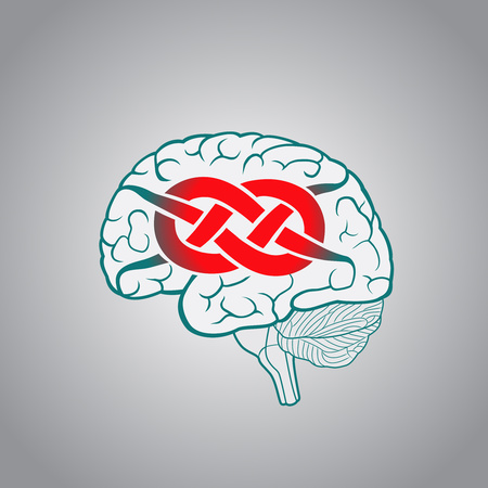 intractable: Brain with convolutions associated to the knot, concept of unsolvable problems, challenges Illustration
