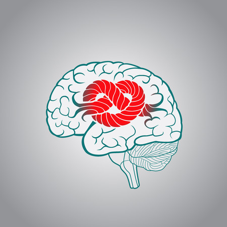 Brain with convolutions associated to the knot, the concept of unsolvable problems, challenges Vectores