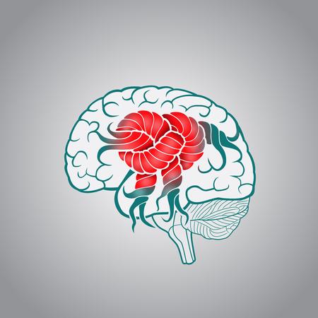 매듭과 관련된 회선을 가진 뇌, 뇌의 회복, 기억, 뇌졸중의 개념 일러스트