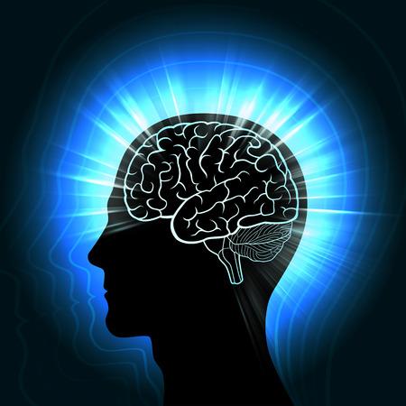 Brillando una cabeza humana con un contorno resplandeciente del cerebro e irradiando ondas, aura, el concepto de la conexión del hombre con el Universo Foto de archivo - 79038543