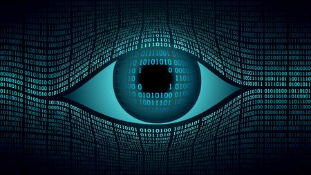 Big Brother-concept voor elektronisch oog, technologieën voor wereldwijde bewaking, beveiliging van computersystemen en -netwerken, hoogtechnologische digitale computertechnologie, wereldwijde bewaking