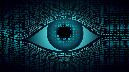 Big Brother-concept voor elektronisch oog, technologieën voor wereldwijde bewaking, beveiliging van computersystemen en -netwerken, hoogtechnologische digitale computertechnologie, wereldwijde bewaking Stockfoto - 79013557