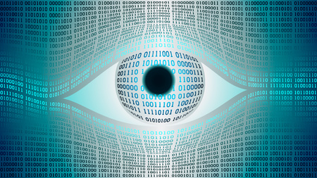 Big brother electronic eye concept, technologies for the global surveillance, security of computer systems and networks Illustration
