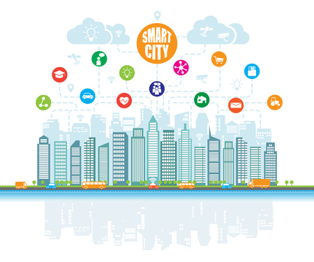 Smart city with advanced intelligent services, and augmented reality, social networks, Internet of things, icons. Background, place for text