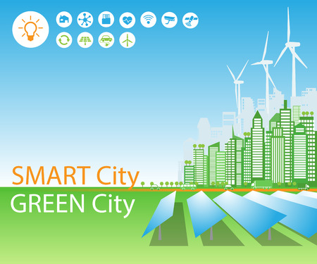 Smart green cities consume alternative natural energy sources, with advanced intelligent services, social networks, Internet of things, icons. Background, place for text