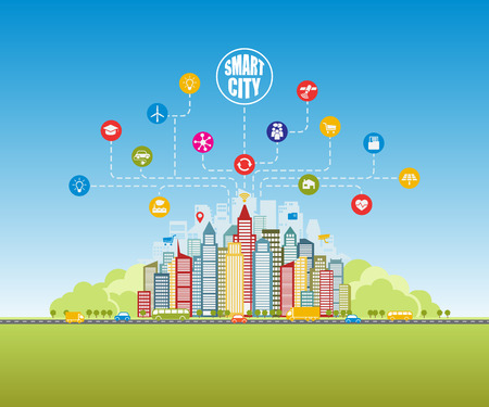 Smart city with advanced smart services, social networking, the Internet of things. Background, place for text