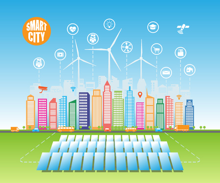 alternative energy sources: Smart green cities consume alternative natural energy sources with advanced intelligent services, and augmented reality, social networks, Internet of things, wind energy, solar energy Illustration