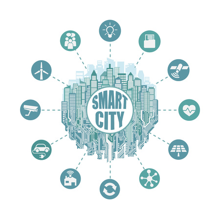 Smart city with advanced smart services, social networking, the Internet of things, circuit board